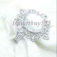 12 White Gem Napkin Rings Wedding Bridal Shower Favor
