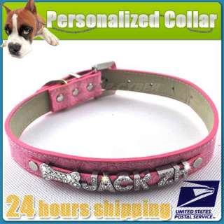 NEW Croc Pet Dog Cat Personalized Diamante Rhinestone Collar Name