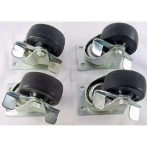 4 NEW 3 Heavy Duty Caster Wheels w/ Bearings & Brakes