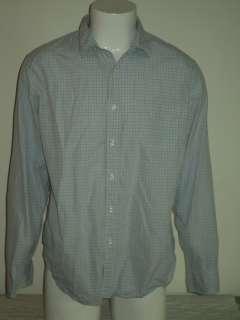 Mens J. CREW Blue Check Cotton Dress Shirt Sz XL