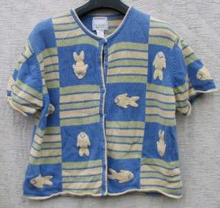 XL Christopher & Banks Blue/Yellow/Green HAND EMBROIDER FISH Sweater $