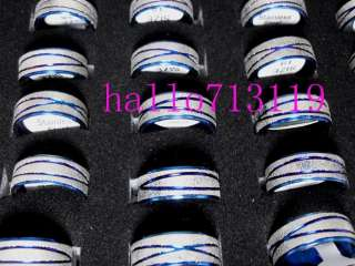 WHOLESALE 50pcs blue line STAINLESS STEEL RINGS