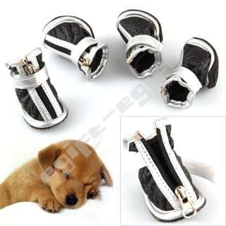 4X Size S Small Black Pet Dog Puppy Fashion Boots Booties Shoes