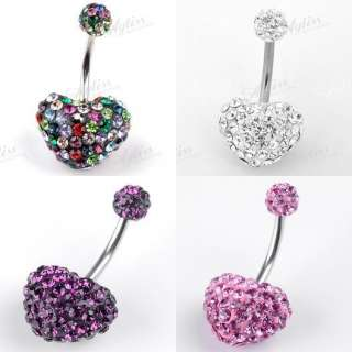 Czech CZ Crystal Heart Belly Navel Ring Body Piercing Steel