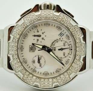 MINT TAG HEUER WOMENS FORMULA 1 CAC1310 DIAMOND CHRONO PEARL WATCH