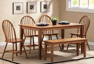 LANDON WOOD 6 PC DINING ROOM TABLE SET W/ BENCH SEAT