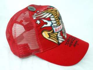 70 ED HARDY DESIGN RED WOMENS BORN FREE GOLDEN EAGLE TRUCKER HAT