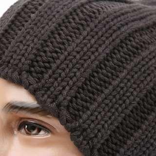 Beanie Skull Knit Hat Cap STRIPE CNH Dark GRAY