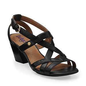 Indigo by Clarks PLUSH.COTTON Womens Black Leather Comfort Strppy