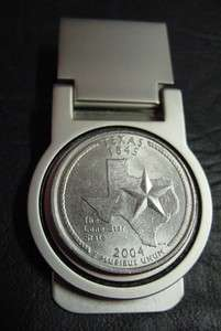 TEXAS STATE QUARTER SILVER MONEY CLIP BOXED NEW