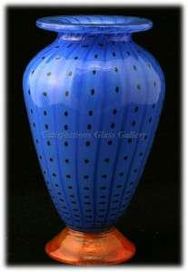 Transjö Hytta Swedish Art Glass Vase Black Polka Dots Orange Foot