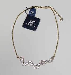 NEW SWAROVSKI AUTHENTIC ELEGANT NECKLACE/CHAIN GOLD SWAROVSKI CRYSTALS