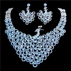 Peafowl Peacock Necklace Earring Blue Swarovski Crystal
