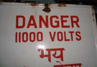 Old Vintage Porcelain Enamel Danger Sign Board from Ind