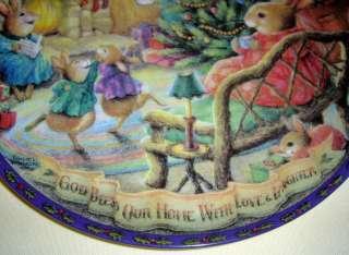 Susan Wheeler Christmas Comes To Primrose GOD BLESS OUR HOME Plate Bx