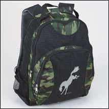 NWT KIDS GREEN CAMO BUCKING HORSE BACKPACK BY LILA