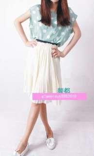 2012 Women Girls SPRING Chiffon Pleated Knee Length Skirt Elastic