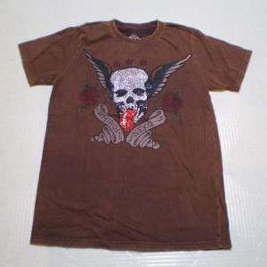 Rolling Stone Skull Wing Rose Mens T Shirt / M / NEW