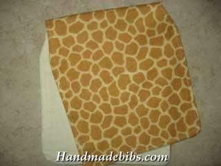 HANDMADE BABY BURP CLOTHS CONTOURED SHOWER GIFT ANIMAL PRINT GIRAFFE