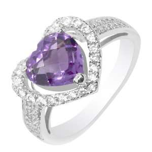 Heart Shaped Purple Amethyst Ring
