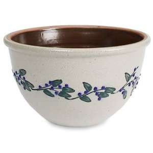 Stoneware Berry Vine Blue/Green Mixing Bowl 3 Qt.