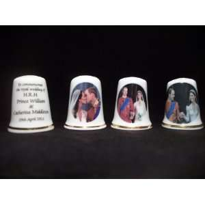 and Kate Middleton Royal Wedding China Thimble Set x3