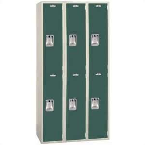 Two Tone Quiet Door Locker   Double Tier   3 Sections   No Legs