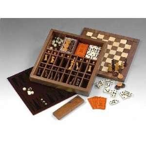 Deluxe Ultimate Game Box w Cream Backgammon Board