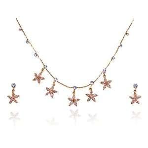 Topaz Star Night Flower Swarovski Crystal Rhinestone Dangle Earring