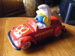 SMURFETTE IN CAR~VOLKSWAGON BUG~ERTLE #1~1982~PEYO