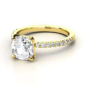 Cecilia Ring, Cushion White Sapphire 14K Yellow Gold Ring