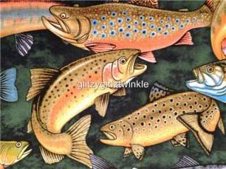 New Fish Fabric BTY Speckled Trout Bass Crappie Salmon Green