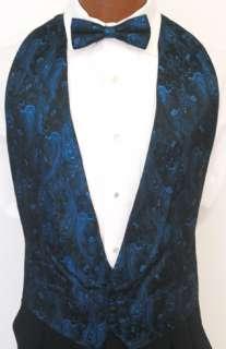 Blue Sparkle Paisley Tuxedo Vest / Tie Boys Small
