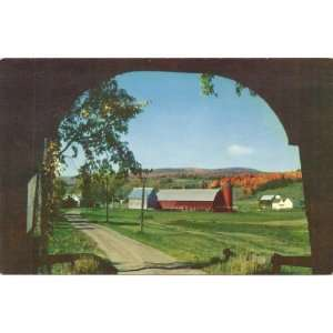 Farm scene from inside Covered Bridge   Coventry Massachusetts