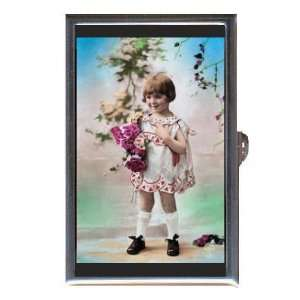 Retro Sweet Young Girl Flowers Coin, Mint or Pill Box