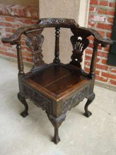 Antique English Victorian Carved Oak Smoke Cigar Chair