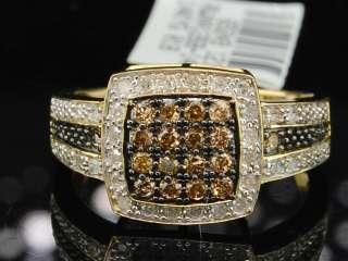 GOLD CHOCOLATE BROWN & WHITE DIAMOND ENGAGEMENT WEDDING RING