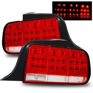 05 09 Ford Mustang Red/Clear LED Tail Lights Automotive