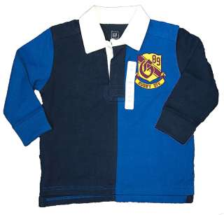NWOT Baby Gap Navy & Blue Rugby Polo Long Sleeve 3T 3 Y