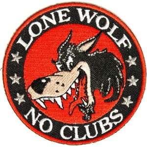 Lone Wolf No Clubs Patch, 3 inch, small embroidered biker