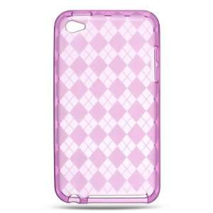 Ipod Touch 4 Crystal Skin Case Hot Pink Checker