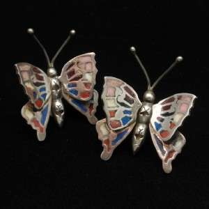 Butterfly Earrings Sterling Silver Inlaid Wings Move Large Mexico