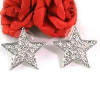 CLEAR STAR RHINESTONE STUD POST EARRINGS JEWELRY e548