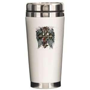 Ceramic Travel Drink Mug Cross Angel Wings