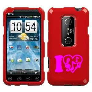 HTC EVO 3D PINK I LOVE MUSIC ON A RED HARD CASE COVER