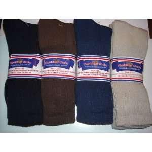 Diabetic Socks,12 Pair crew length,4 Color black,blue,brown,tan size 9