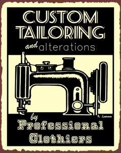 Custom Tailoring Professional Clothiers Sewing Machine Vintage Metal
