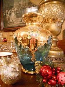 Cobalt Blue Glass Vase Gold Accent Enamel Flower