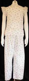 Vintage Printed Cotton Pajama Set Deadstock 1940'S