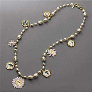 NEW Auth Coach Bonnie Multi Charm Pearl Necklace 94435